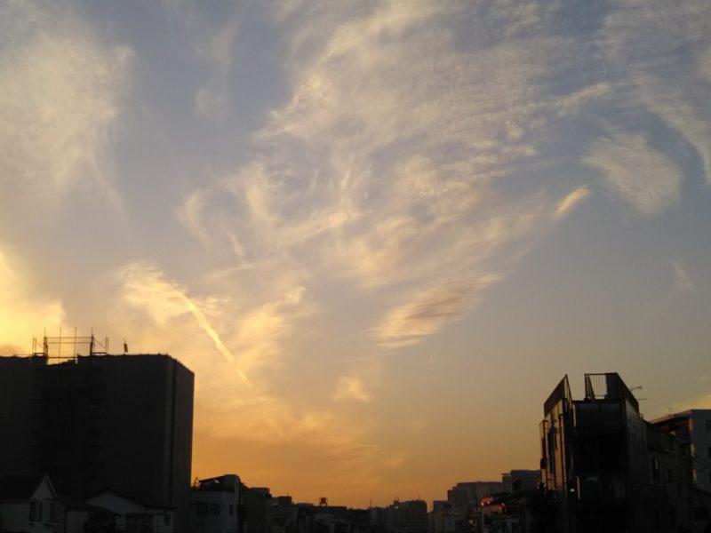 大田区を流れる呑川の夕焼け。