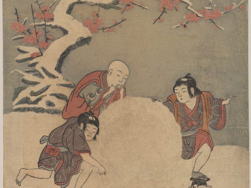 鈴木春信の浮世絵、「雪玉転がし」です。
