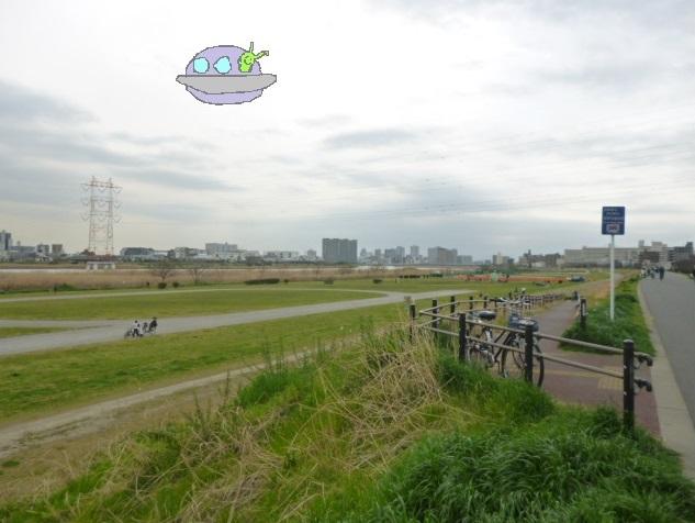 多摩川大師橋緑地に浮かぶ未確認飛行物体です。