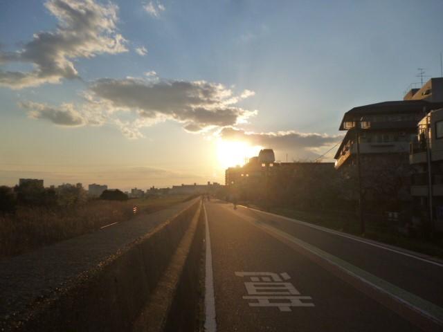 多摩川大師橋緑地のサイクリングロードの夕日です。