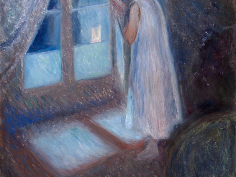 エドヴァルド・ムンクの「窓の外を眺める少女」です。