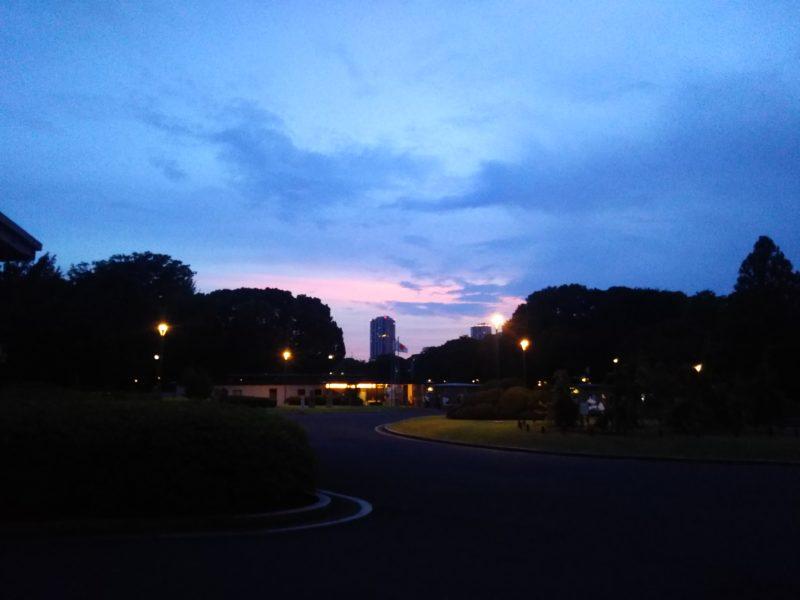 東京の夕暮れです。