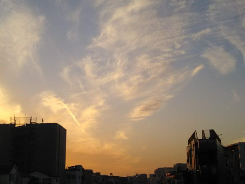 大田区を流れる呑川の夕暮れの風景です。