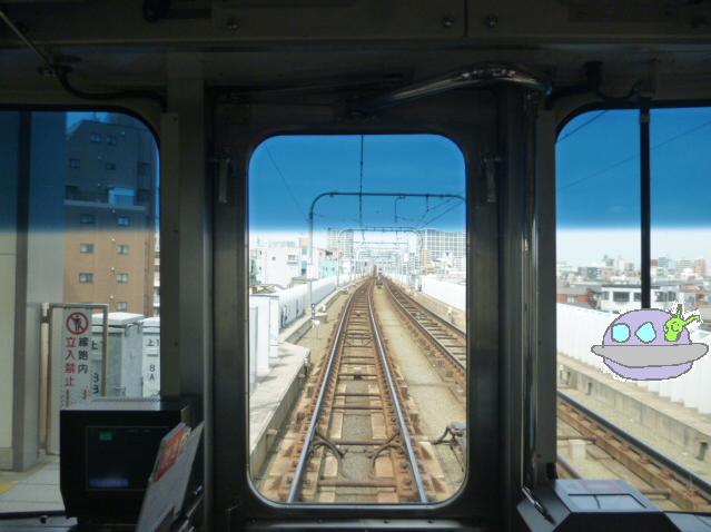 京浜急行の運転席と未確認飛行物体です。