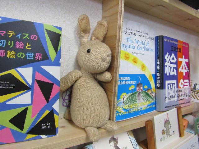 ひらけごま文庫にいる、ウサギちゃんのぬいぐるみです。