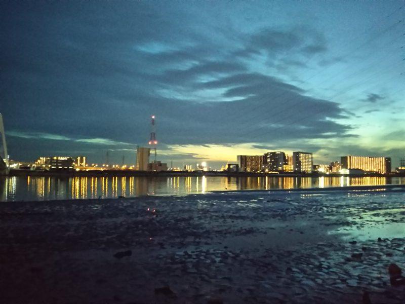 夕暮れ時の多摩川の干潟です。
