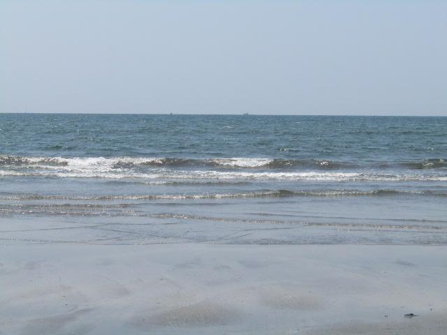 海の波打ち際です。