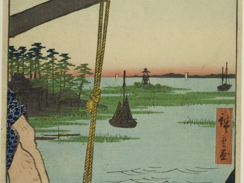 歌川広重の名所江戸百景、羽根田の渡し弁天の杜です。