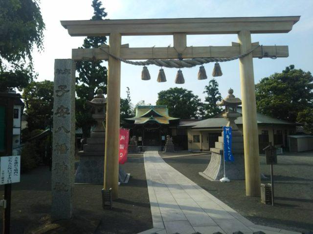 大田区の子安八幡神社の鳥居です。