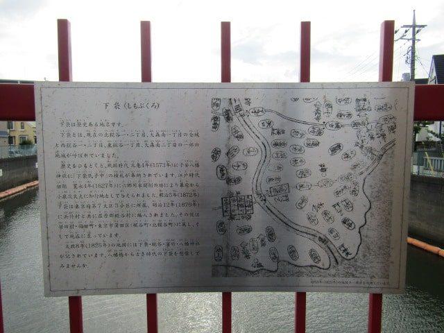 呑川の八幡橋上の下袋村の説明書きです。
