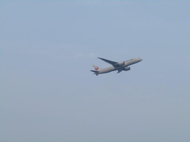 多摩川上空を飛ぶ飛行機です。