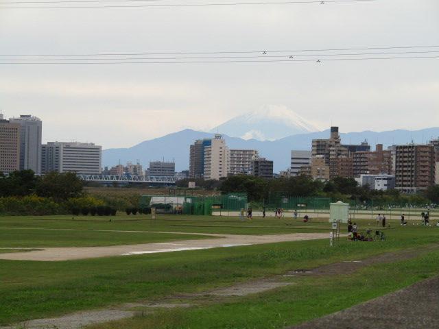 多摩川大師橋緑地から見た富士山です。
