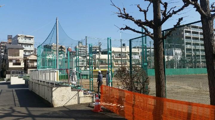 萩中公園の野球場の工事風景です。