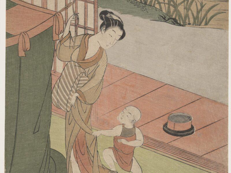 鈴木春信「蚊帳を吊る母子」です。